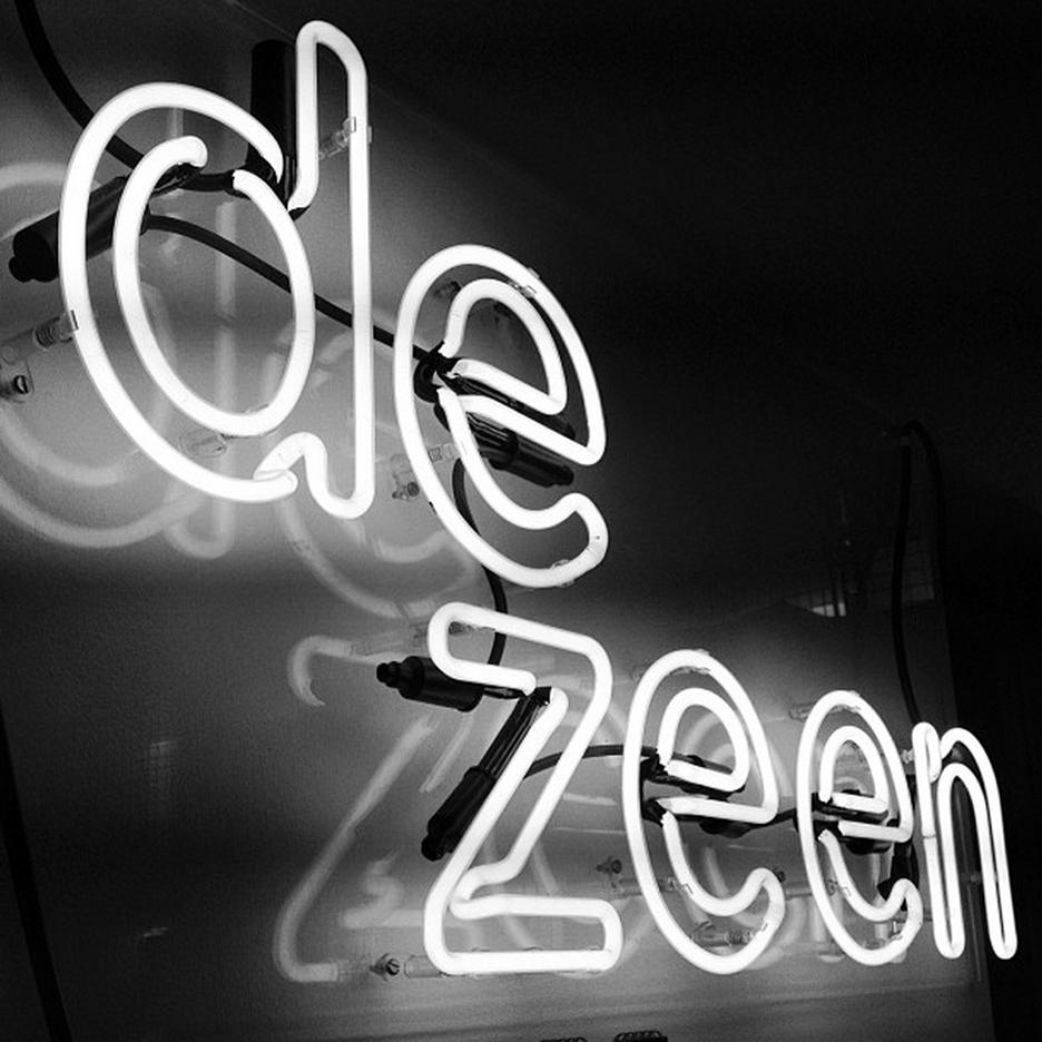 Dezeen neon logo