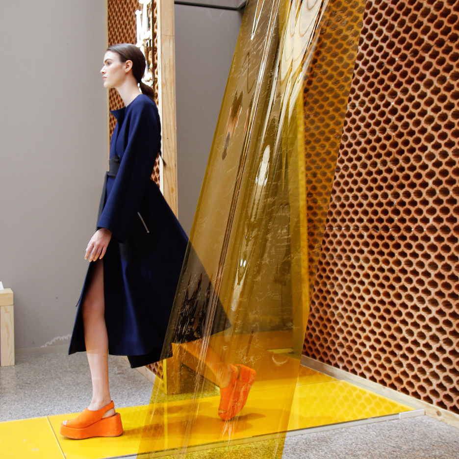 "Formafantasma uses terracotta and PVC to create ""deconstructed architecture"" for Sportmax catwalk"