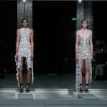 Clothes dissolve on the catwalk during Hussein Chalayan's Spring Summer 2016 show