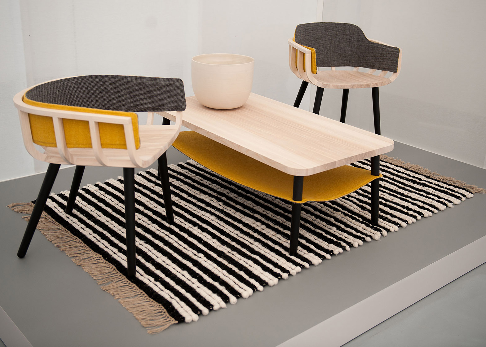 Mourne Milano Rug by Mourne Textiles, and Frame Chair and Hang Table by Notion and Mourne Textiles