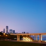 "Mies-inspired pavilion with ""biggest wooden roof possible"" opens on Chicago lakefront"