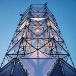 Dennis Parren installs illuminated tower at Lowlands music festival