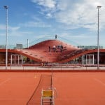 MVRDV completes Amsterdam tennis clubhouse with seating bowl on the roof
