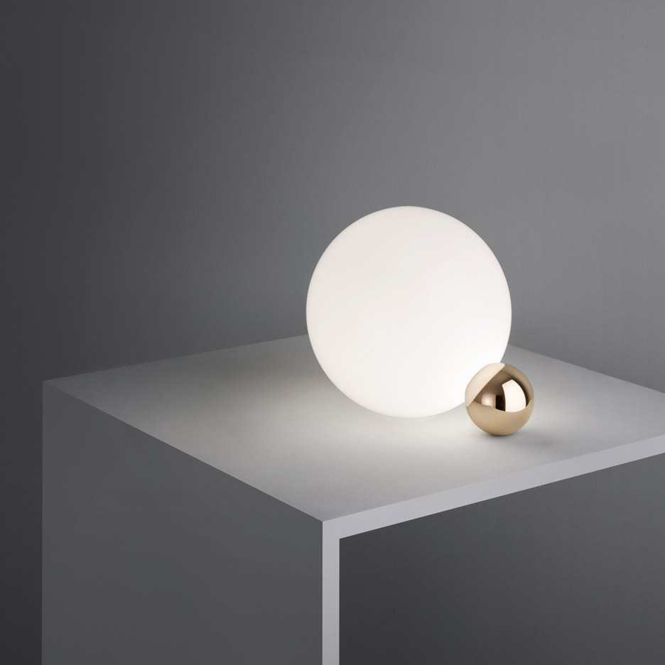 Michael Anastassiades' Copycat lamp for Flos comprises a pair of balanced spheres