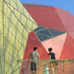 "Coloured ""mountains"" protrude from children's science museum by LHSA+DP"