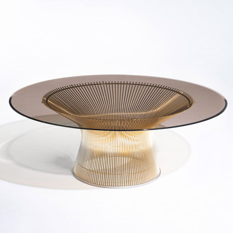 Midcentury Furniture Introduced With New Goldplated Finishes - Bertoia coffee table