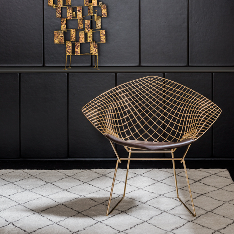 Furniture by Bertoia, Jacobsen and Platner introduced with gold-plated finishes