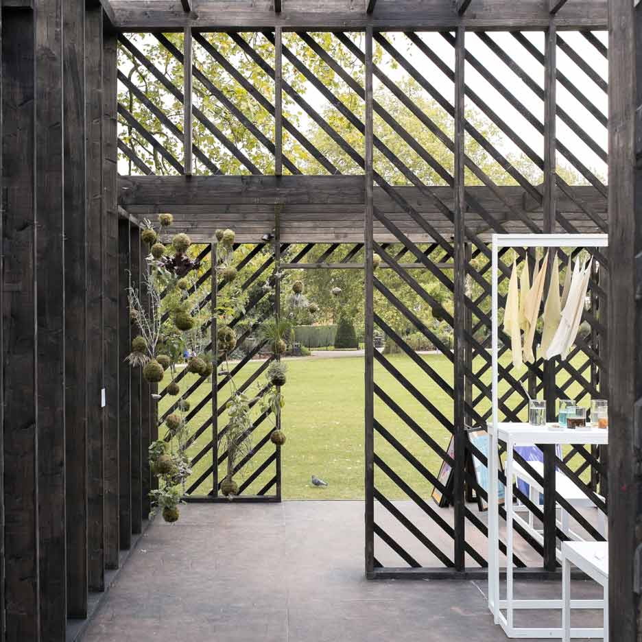 Claridge Architects designs blackened timber pavilion for Plants Out Of Place exhibition