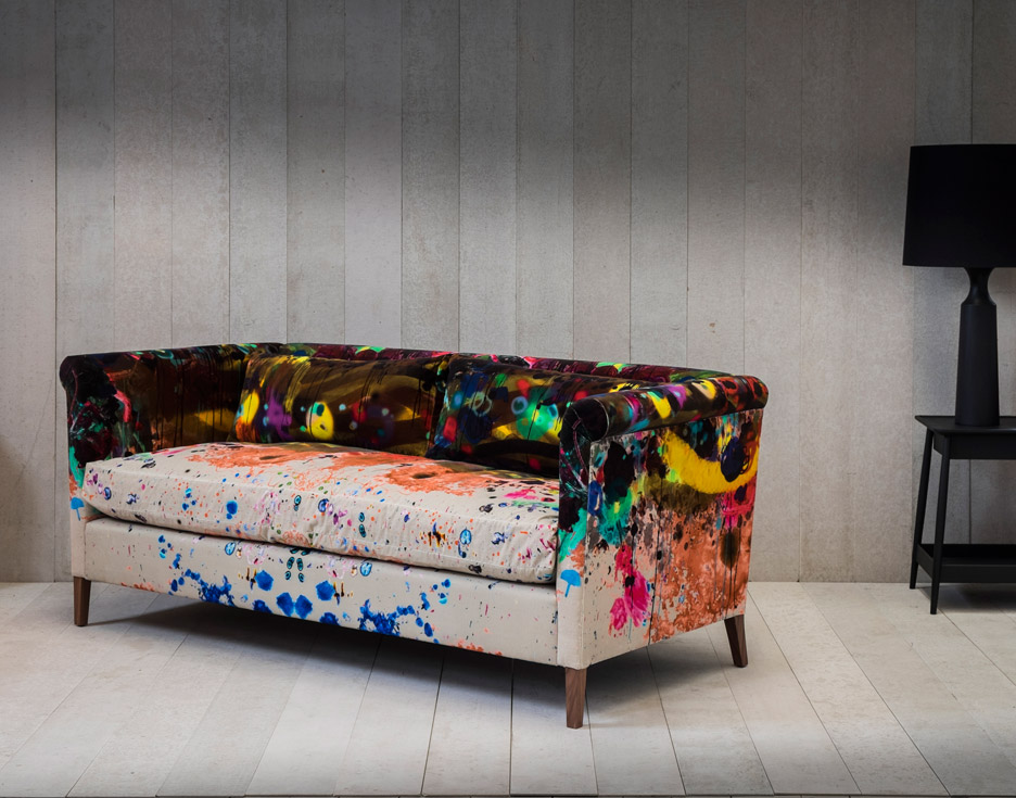 Timorous Beasties Graffito Velvet on Noelle sofa by Pinch Design