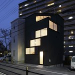 Windows spiral towards the roof of Osaka house by Alphaville Architects