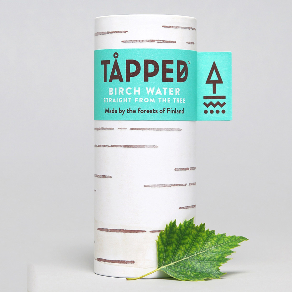 Horse's packaging for Tåpped birch water is designed to resemble tree bark