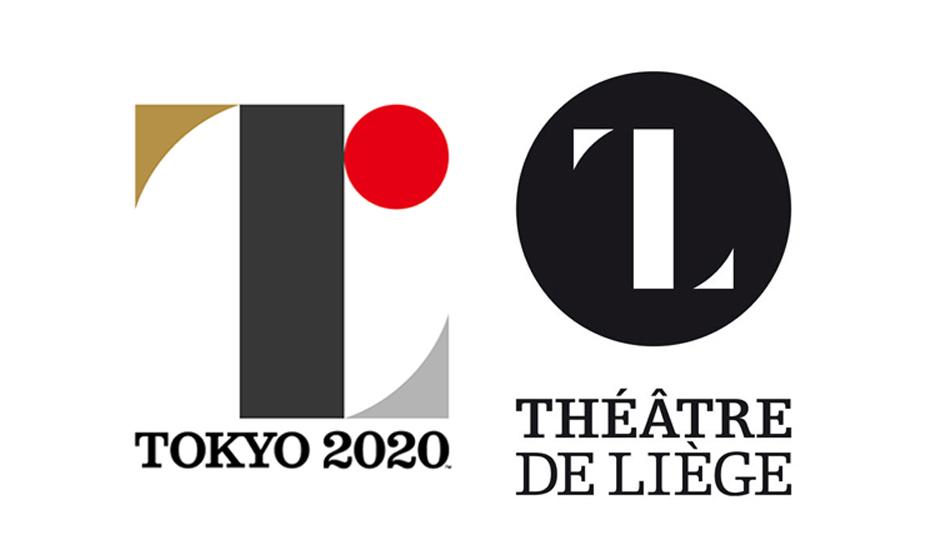 Tokyo 2020 Olympics logo next to Theatre De Liege logo by Olivier Debie
