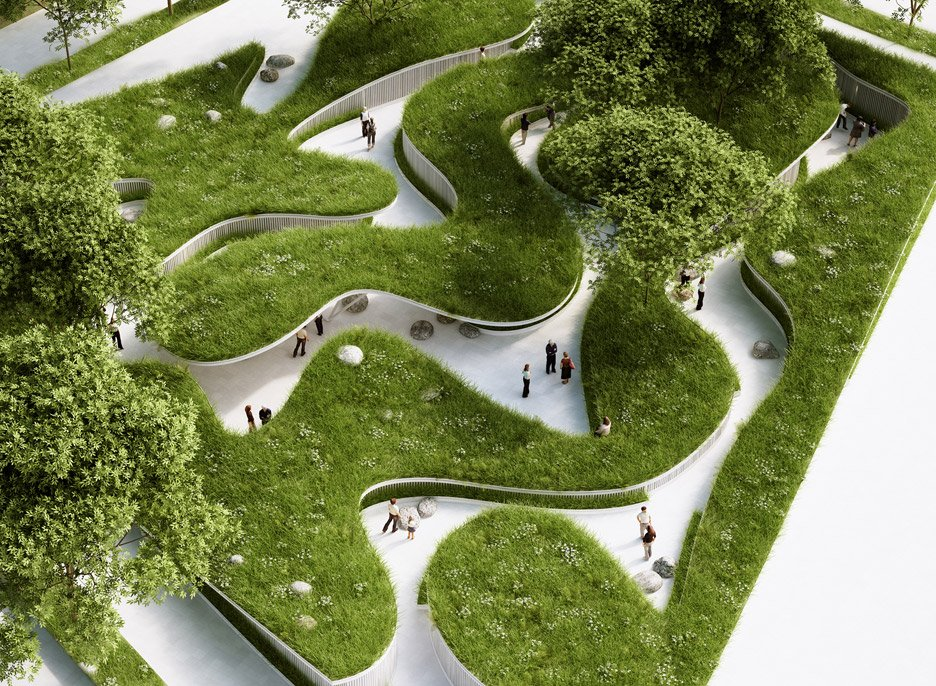 Penda highlights global water crisis with meadow pathway installation