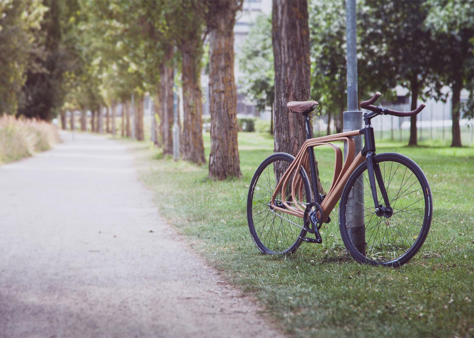 Wooden bicycle by Niko Schmutz