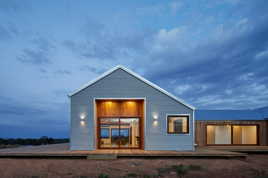 Corrugated steel provides durable facade for rural for Shed home designs australia