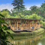 Bamboo playhouse by Eleena Jamil built on a lake island in Kuala Lumpur's botanical gardens