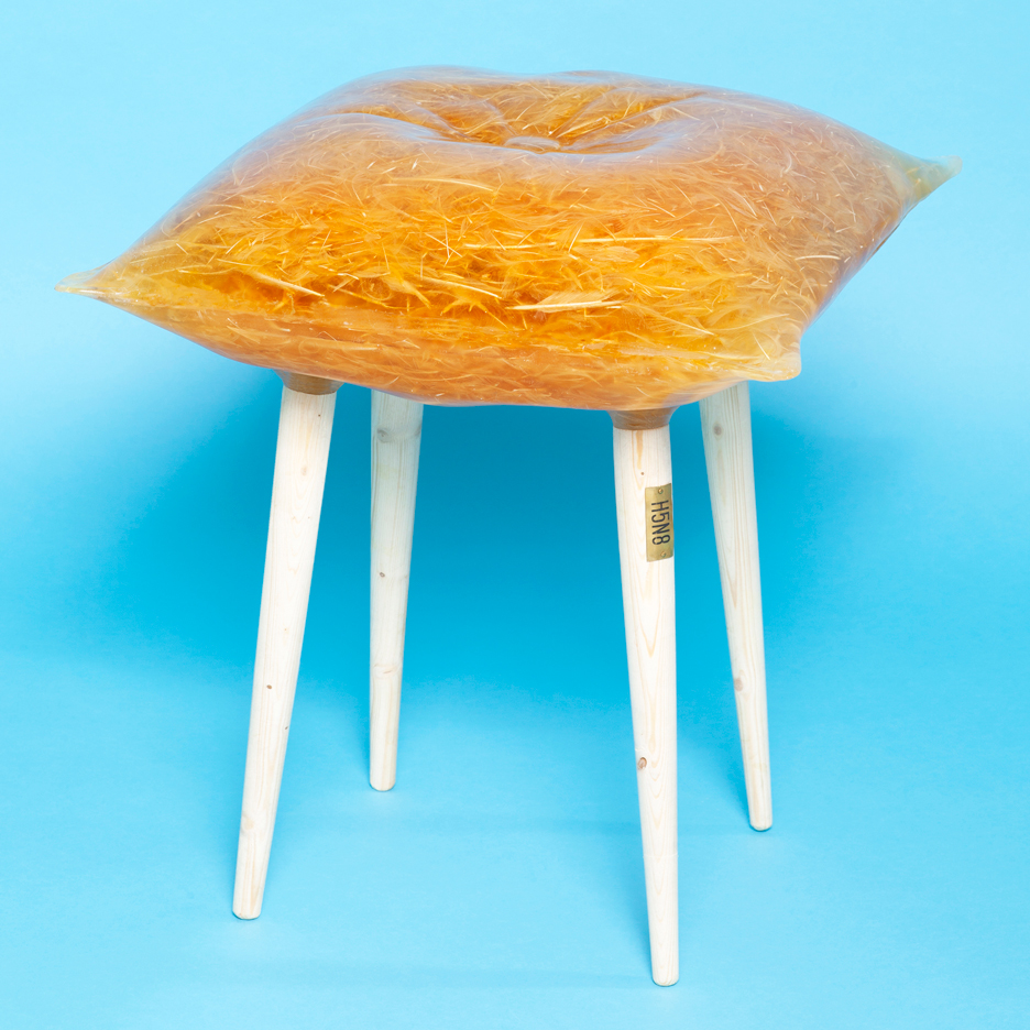 Slaughtered bird flu-infected chickens transformed into furniture by Emilie van Spronsen