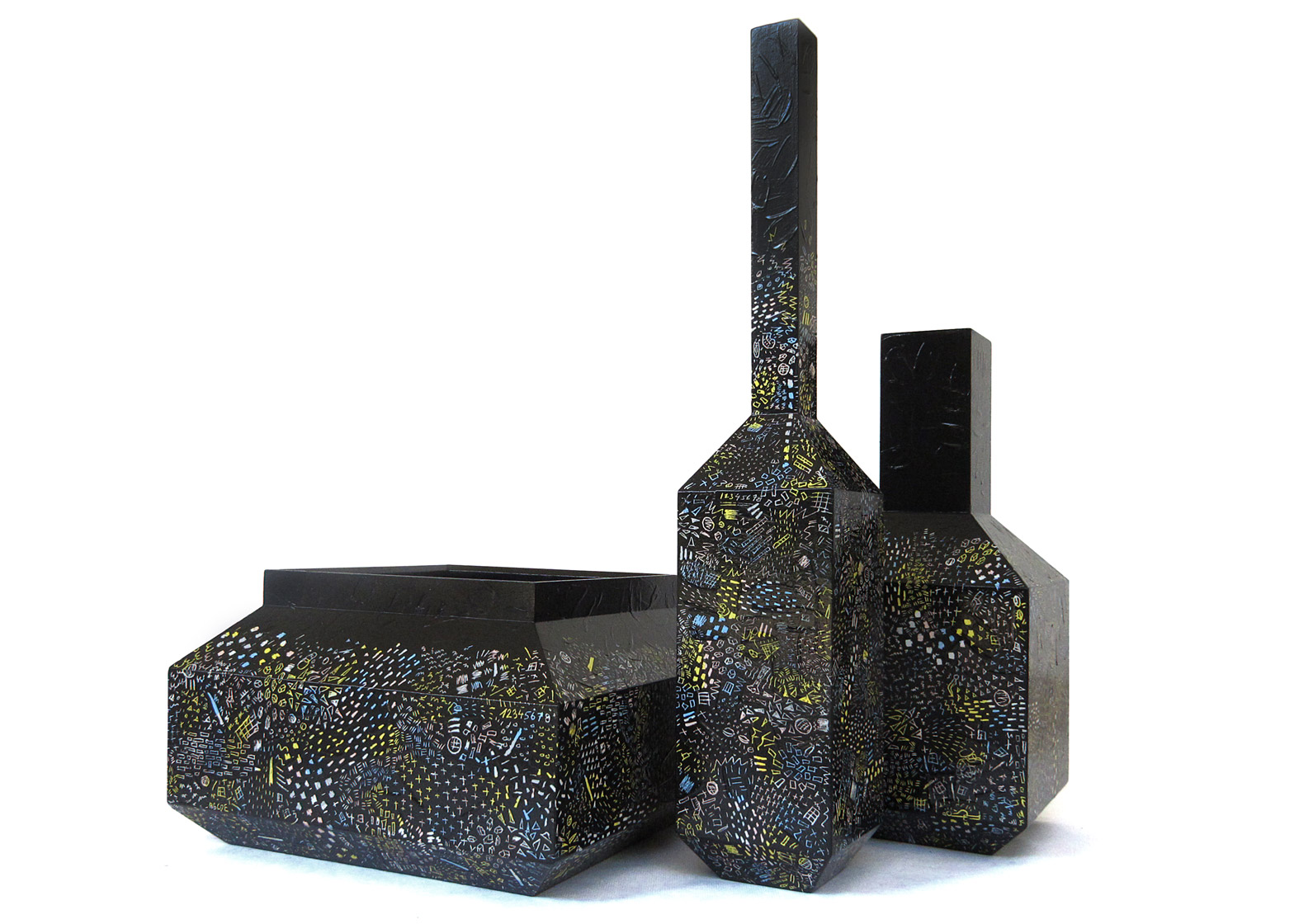 Black etched vases by Italy Ohaly