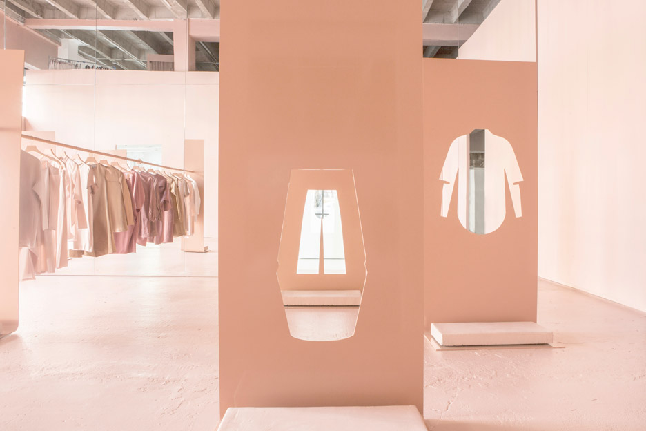 Snarkitecture uses steel sheets with garment-shaped cutaways for COS pop-up shop in LA