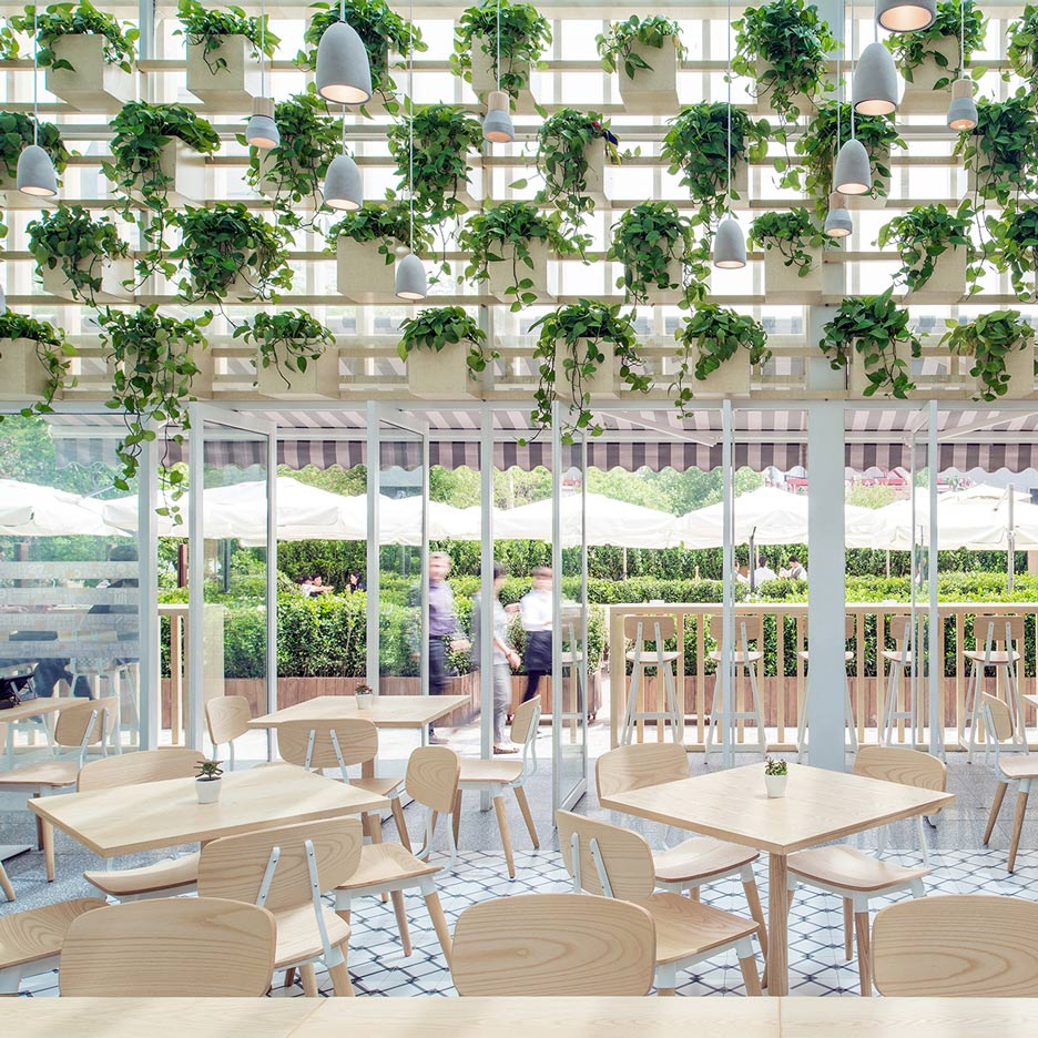 four o nine transforms greenhouse into plant lined coffee shop