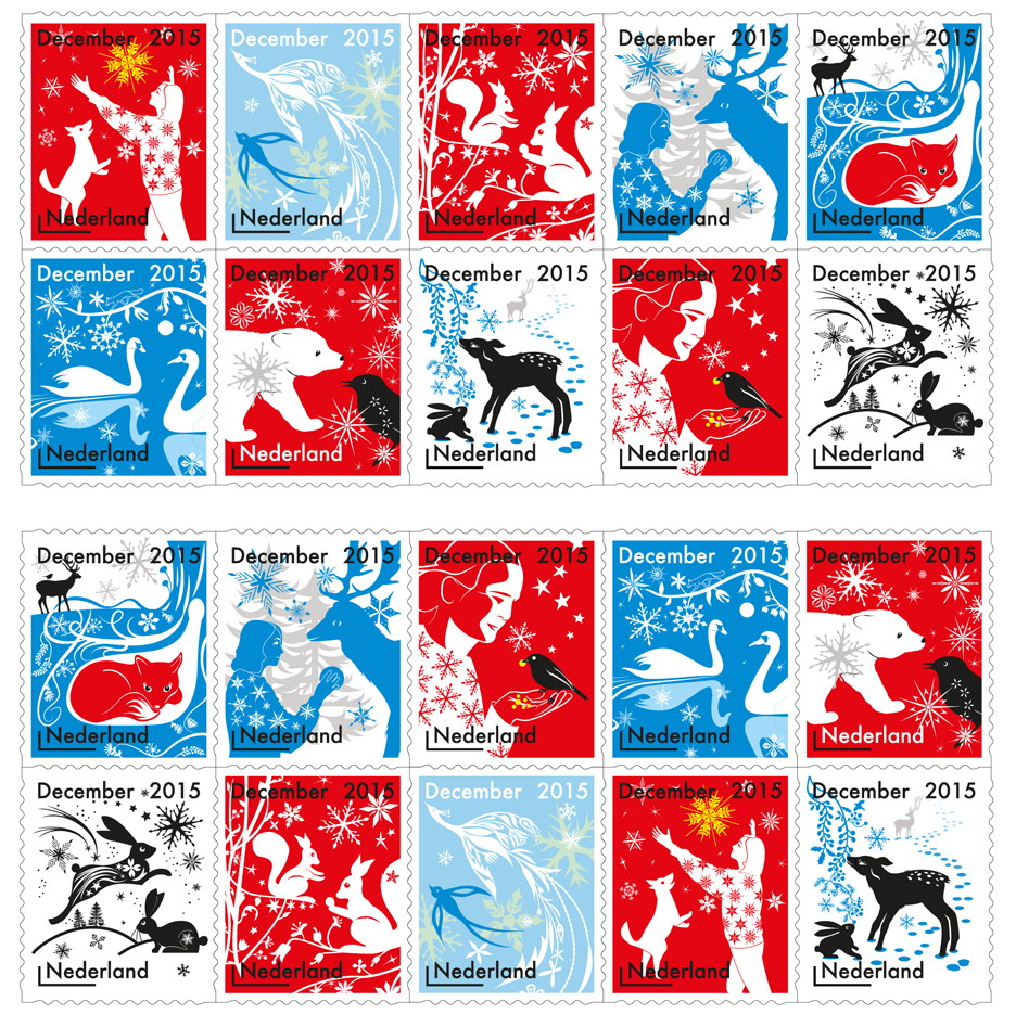 "Tord Boontje's festive stamps feature ""small stories"" of animals and people"