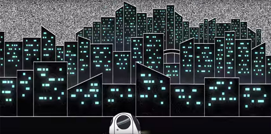 Jeanette Lee animates a futuristic city for Dewy Sinatra's In My Bubble video