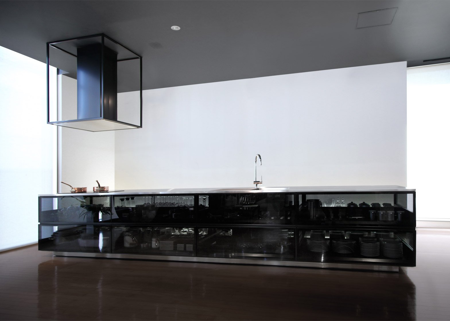 Finesse glass modular kitchen system by Tokujin Yoshioka