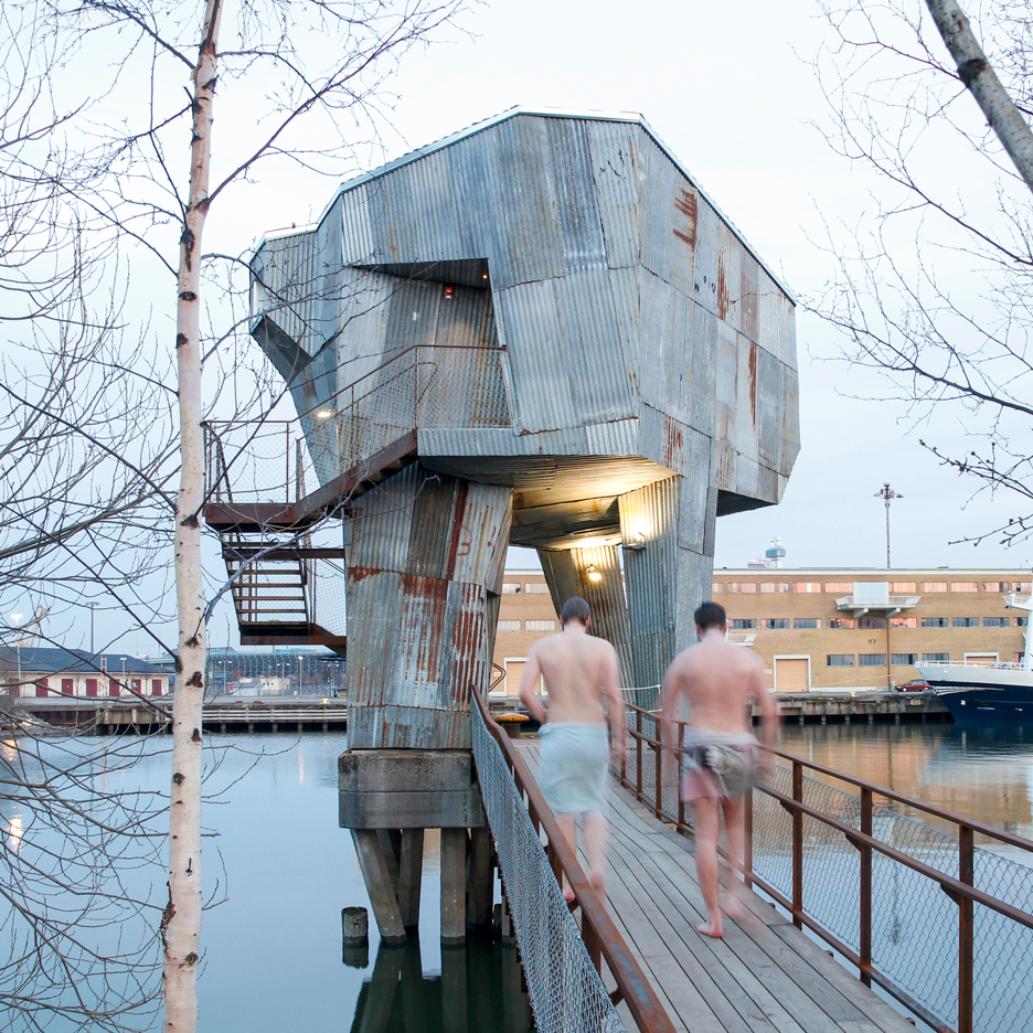 Raumlabor builds industrial-looking sauna above the waters of Gothenburg port