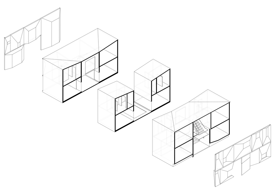courtyard house by t38 studio based on a nine square grid Concrete Slab Span exploded diagram two click for larger image