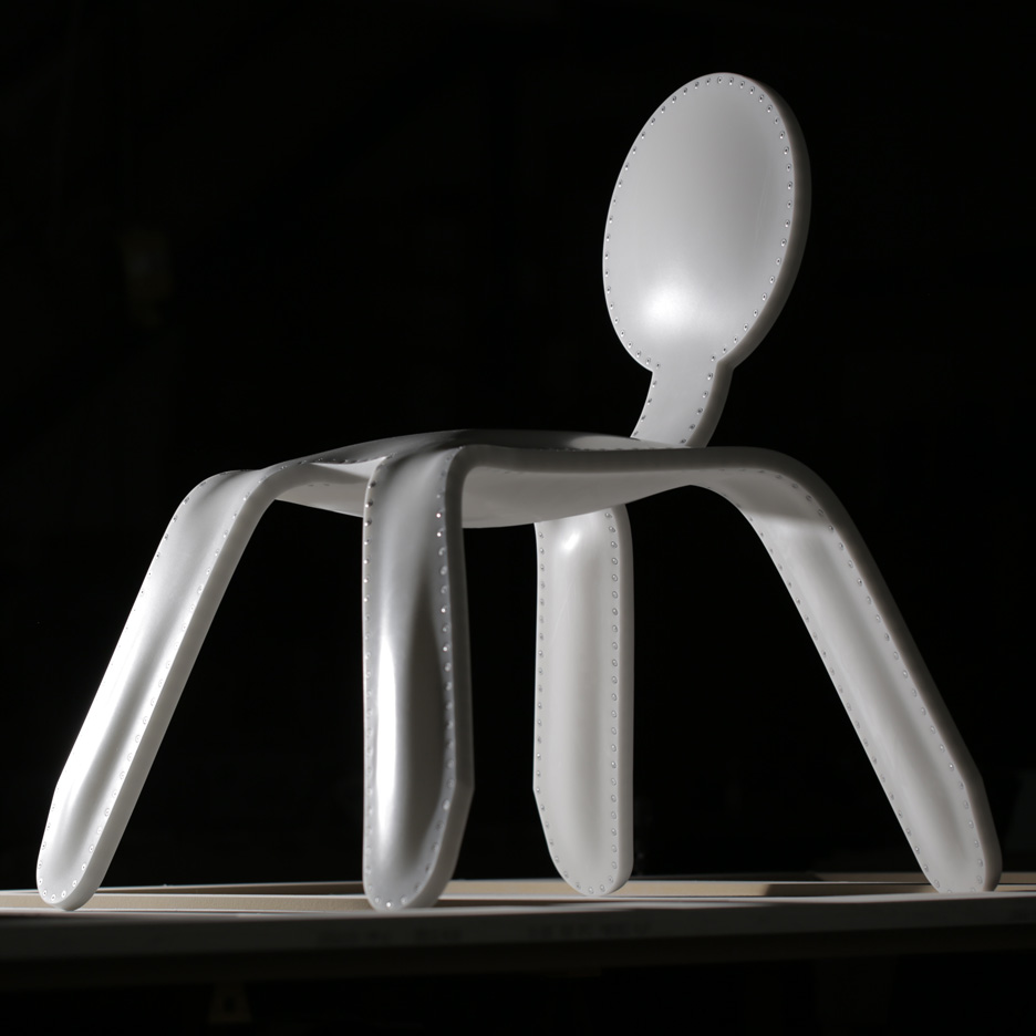 "Rachel Harding's Corian chair is inflated ""like a balloon"""