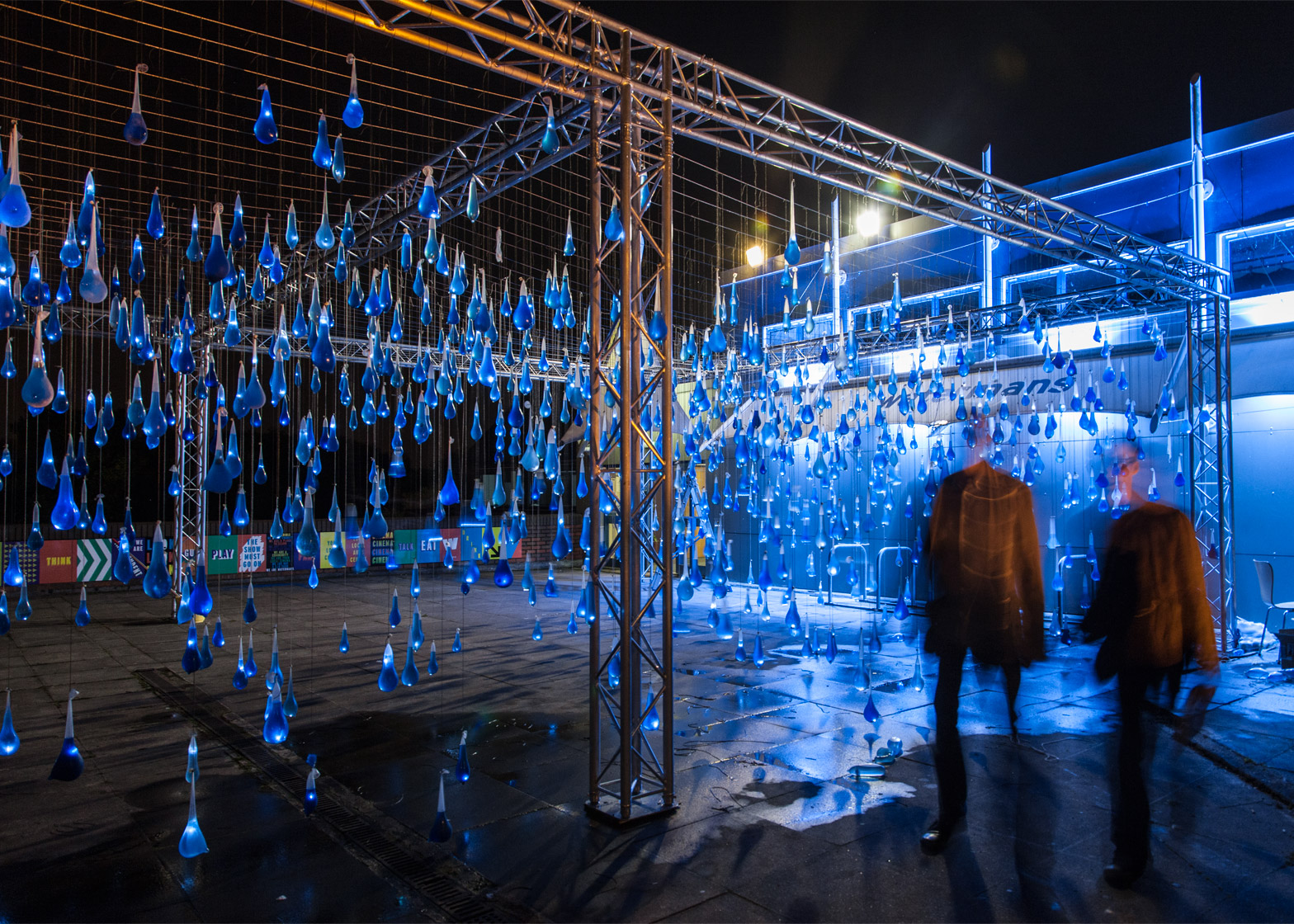 Interactive rain by Luz Interruptus