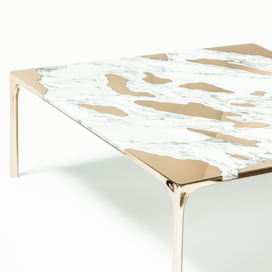 GT2P pairs unusual materials in Marble vs Bronze coffee table