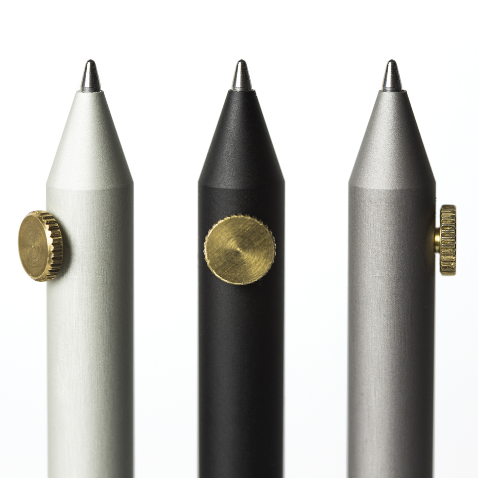 Giulio Iacchetti's minimal Neri pens and pencils are operated by brass dials