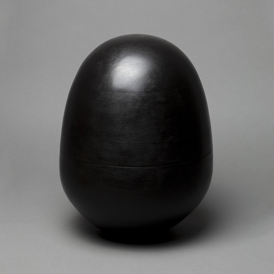 Egg-shaped urns for cremated ashes rock back and forth without falling over