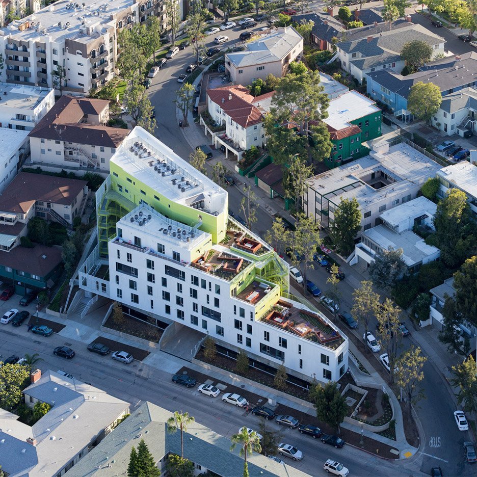 LOHA's student apartment complex steps down a Los Angeles hillside