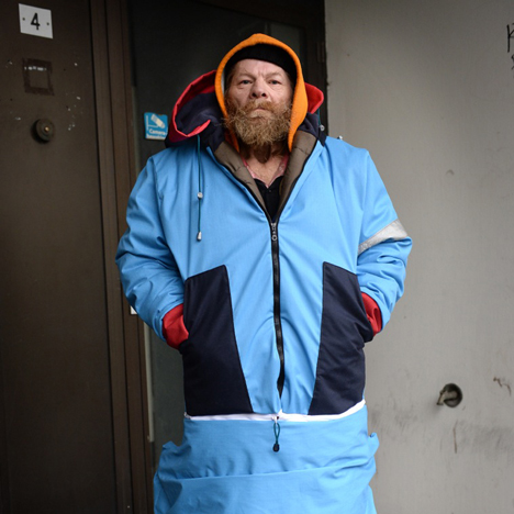 Sheltersuit coat doubles as a sleeping bag for the homeless