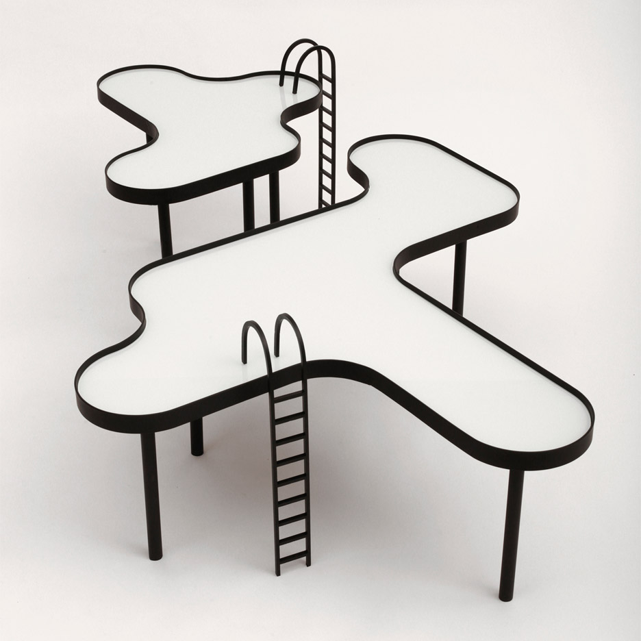 Swimming pool-shaped tables by Rain include removable ladders