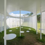 "Translucent curtains surround ""floating"" Oasis pavilion by OBBA"