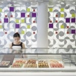 Lukstudio repeats gift-box motif throughout Shanghai macaron shop
