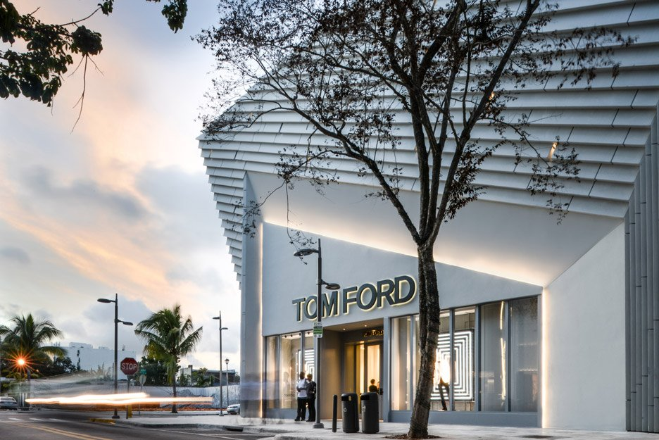 Aranda\Lasch creates pleated concrete facade for Tom Ford flagship Miami store