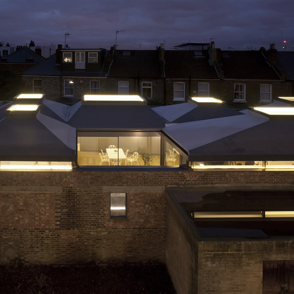 Vaulted House by vPPR is a London residence topped by six protruding skylights