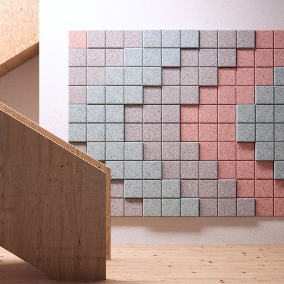 Form Us With Love's acoustic tiles for Baux can be arranged into pixellated patterns