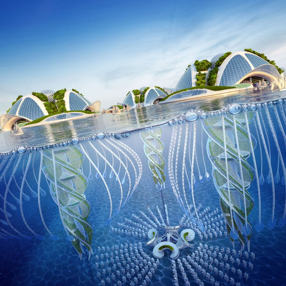 "Vincent Callebaut proposes underwater ""oceanscrapers"" made from 3D-printed rubbish"