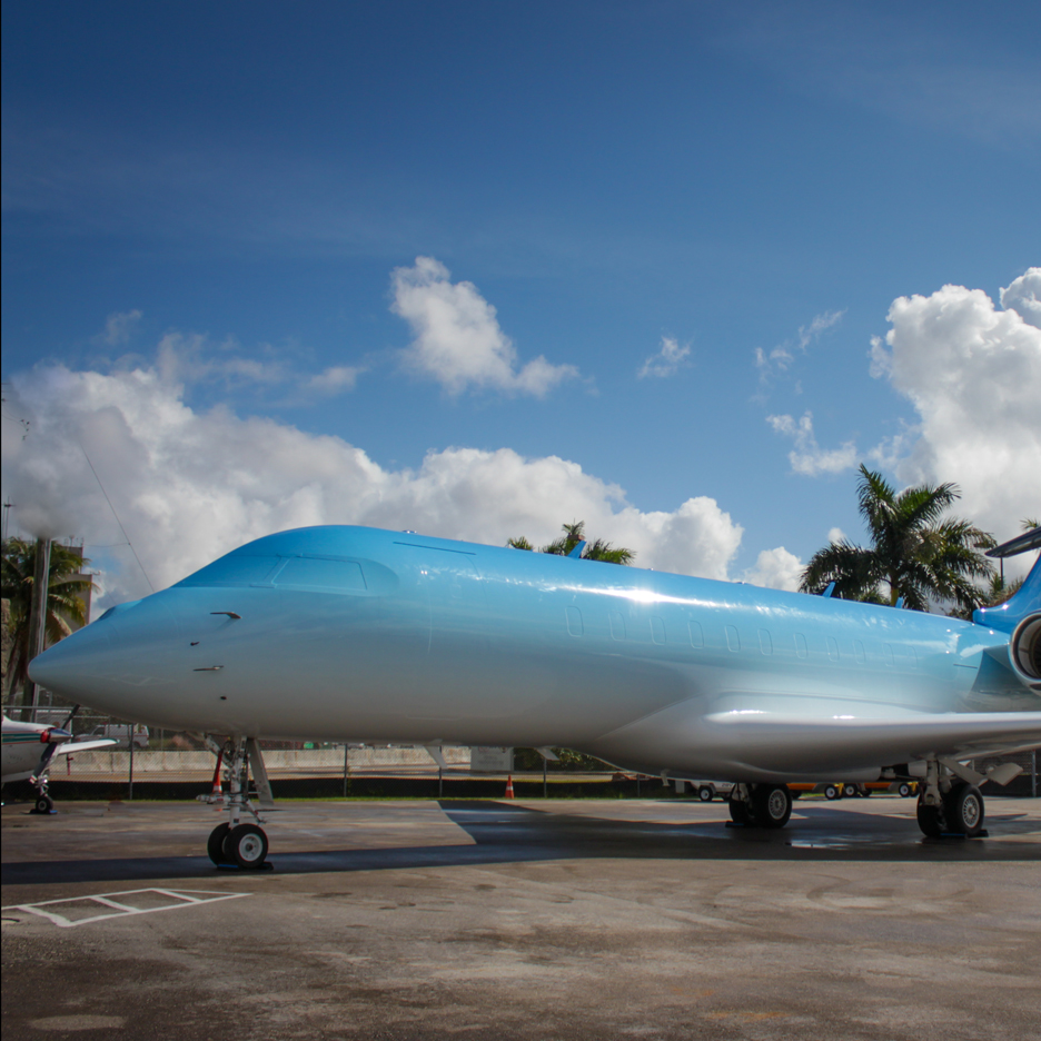 Snarkitecture customises private jet with blue ombre finish