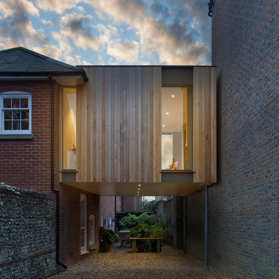 Adam Knibb builds timber house extension above a driveway