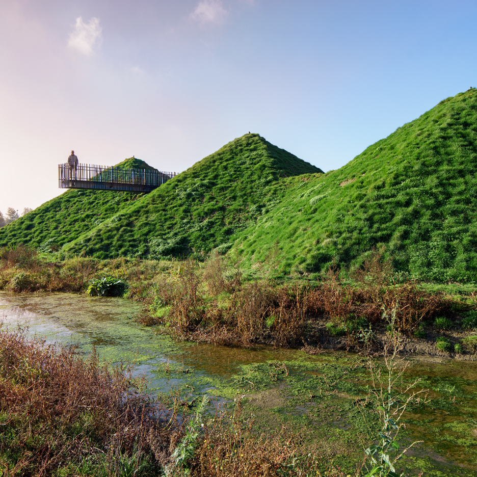 Studio Marco Vermeulen adds grass blanket over rooftop pyramids of Dutch island museum