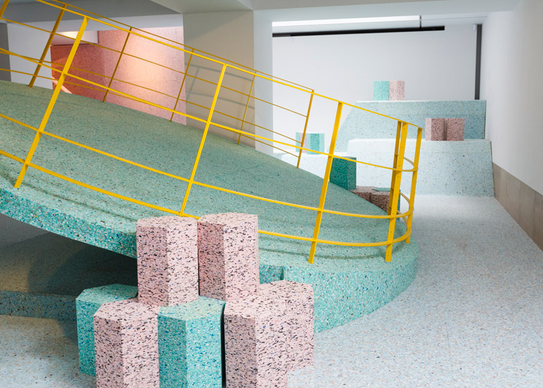 Brutalist Playground was a climbable landscape of ice-cream-coloured shapes installed at the RIBA in London