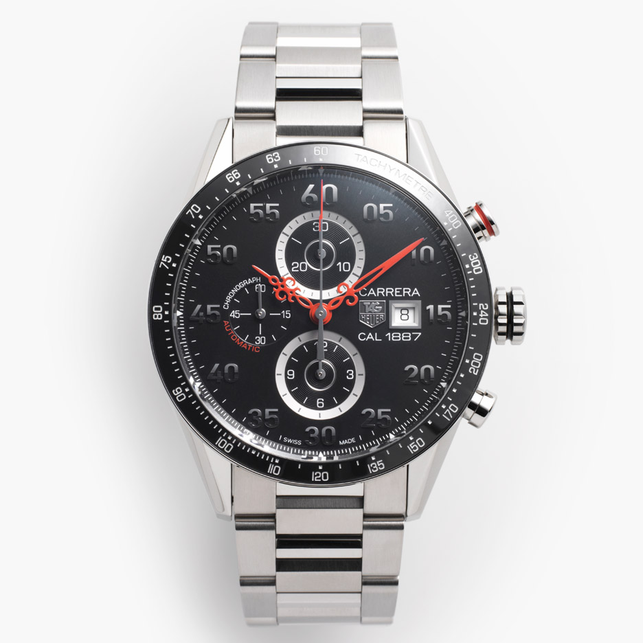 Nendo adds antique-style watch hands to TAG Heuer's Carrera racing timepiece