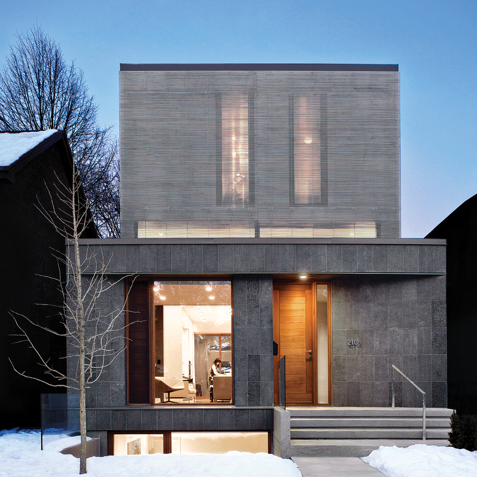 Aluminium louvres screen facade of Toronto home by Paul Raff Studio