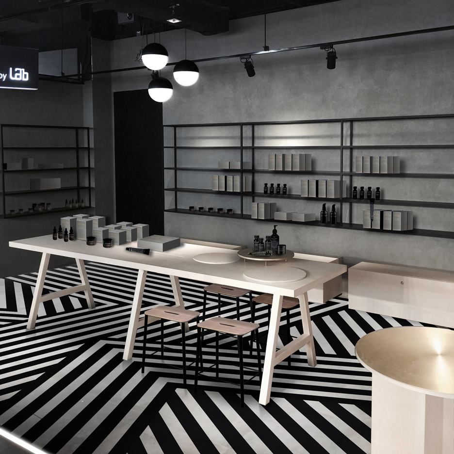 Aurélien Barbry adds striped floor to Facesss Hong Kong beauty lab